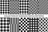 Collection of seamless textile patterns - black and white design. Vector geometric backgrounds