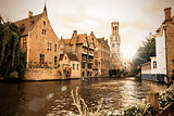 The famous Rozenhoedkaai in Bruges, Belgium