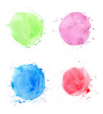 Round abstract watercolor blots