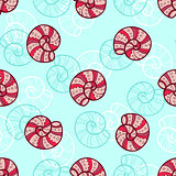 Marine seamless pattern with sea shells