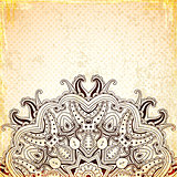 Vintage background with round oriental ornament