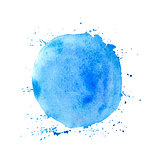 Blue round watercolor vector texture