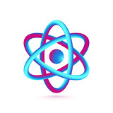 3D Atom Isolated on White Background. Vector illustration
