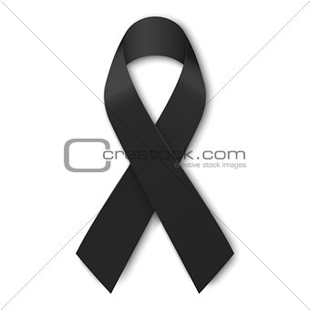 Black mourning ribbon isolated on white background. Vector illustration