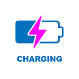 Battery Charging vector icon. Color sign on white background