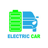 Electric car premium illustration icon, isolated, color on white background, with text elements