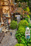 Bruges Belgium picturesque green yard in old