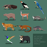 Set of flat geometric south America animals