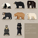 Set of flat geometric bear icons