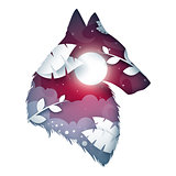 Wolf origami illustration. Cartoon night landscape.