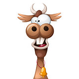 Funny, cute, crazy cartoon characters cow.