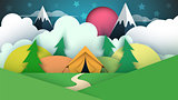 Tent illustration. Cartoon paper landscape.