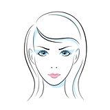Girl head illustration. Eye, ear, hair, lips, neck