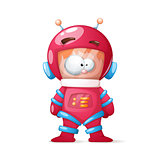 Cute, funny, crazy cosmonaut illustration.