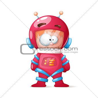 Cute, funny, crazy cosmonaut illustration.