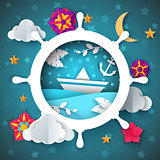 Ship illustration. Leaf, boat, flower, moon, cloud, star landscape.