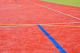 Color lines on playing field. Copy space. Sport texture and background