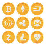Set of cryptocurrency icons for internet money. Blockchain based secure