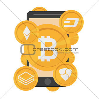 Cryptocurrency on white background, digital currency, futuristic digital money