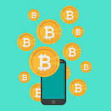 Cryptocurrency on blue background, digital currency, futuristic digital money