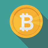 Bitcoin circle icon with long shadow. Flat design style. Crypto currency
