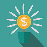 Flat potted money dollar flower. monetary success illustration. Isolated on blue