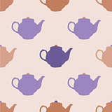 Seamless pattern with tea pots. Vector illustration.