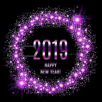 2019 Happy New Year glowing violet background. Vector illustration