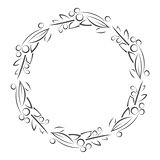 Round frame with leaves and berries outline