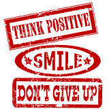Motivation and positive thinking messages rubber stamps set