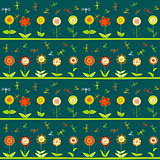 Rows of flowers and stylized dragonflies