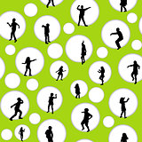 Seamless background with circles and children silhouettes