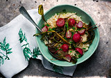 Roasted radish risotto  in  blue dish