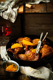 slow roast duck with orange.style rustic.