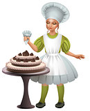 Little girl cook uniform decorated chocolate cake