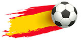 Soccer ball in background of Spanish flag