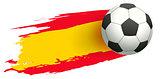 Soccer ball in background of Spanish flag