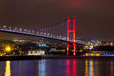 Night view of Bosphorus bridge with lights Istanbul, Turkey
