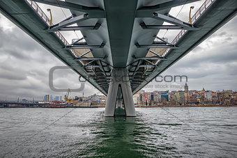 Day view at Golden Horn Metro Bridge in Istanbul City Turkey