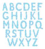 Alphabet, bubbles letters, foam font, vector