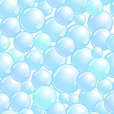 Seamless pattern with soap bubbles, realistic bubbles background, blue blob wallpaper, vector illustration