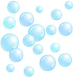 Soap bubbles, realistic water beads, blue blobs, vector foam sphere illustration