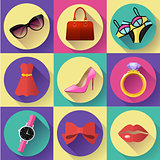Fashion and Clothing Icons set. Flat 2.0 vector design style with long shadow