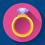 Diamond gold ring icon. Flat 2.0 vector design style with long shadow