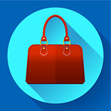 Red fashion women hand bag icon. Flat design style.