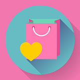 Flat-design shopping bag vector icon