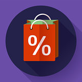 Vector shopping bag Icon. Flat design style.