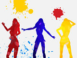Coloured dancing female silhouettes on white background