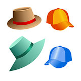 Beach hats and caps for decoration of postcards, banners, bookle