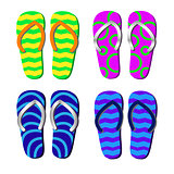 Beach Slippers with pattern isolated for decorating tourist leaf